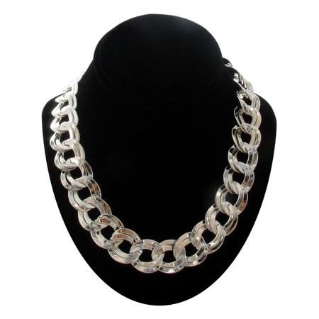 Silver Tone Big Oversized Chunky Chain Necklace Double Link  18