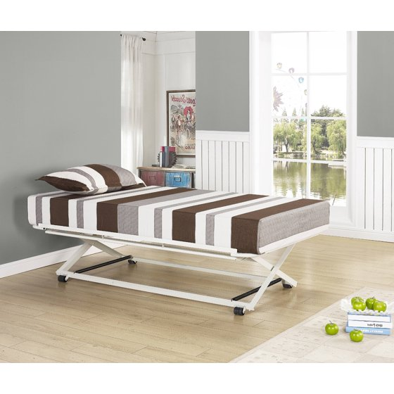 39 39 39 twin size white metal pop up high riser trundle bed Bedroom furniture high riser bed frame
