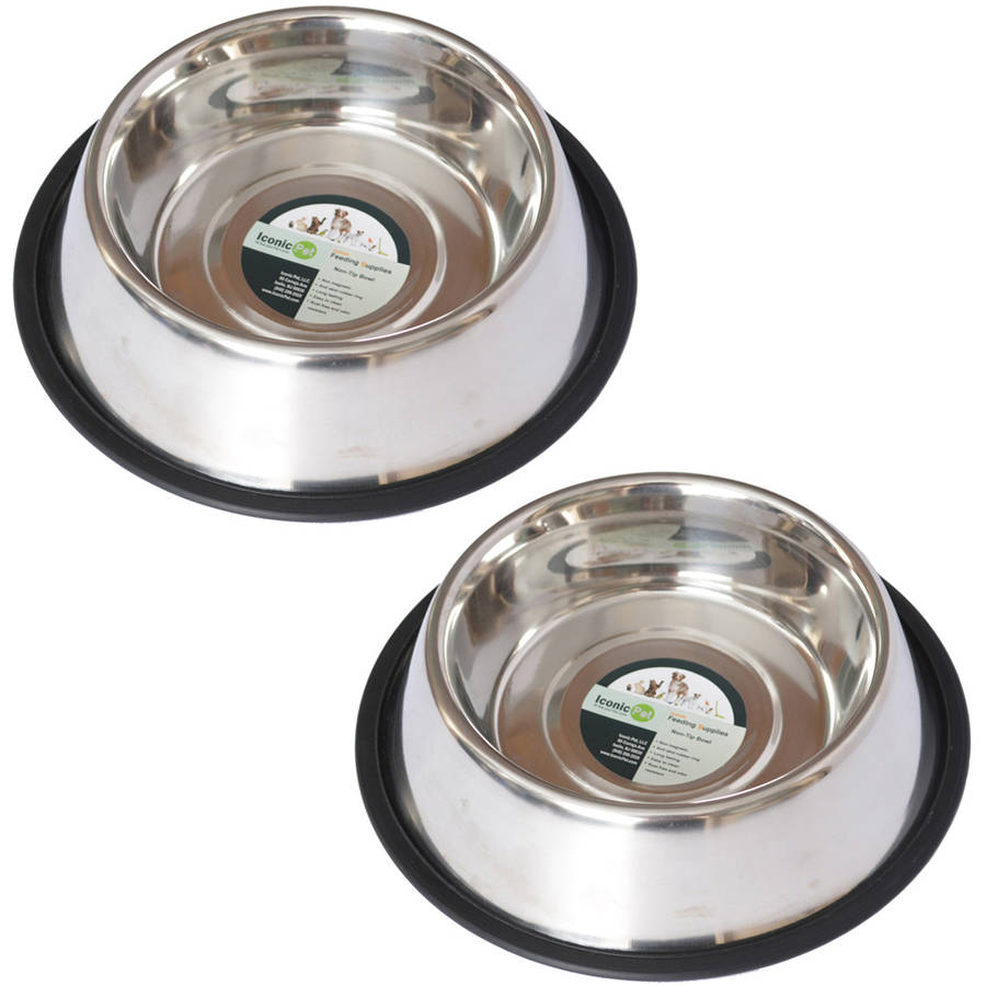 2-Pack Stainless Steel Non-Skid Pet Bowl For Dog Or Cat, 16 Oz, 2 Cup