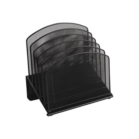 Staples Black Wire Mesh 5-Section Incline Sorter 828565