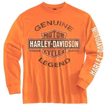 (Harley-Davidson Big Boys' Tee, Long Sleeve Genuine Legend, Orange 1590507, Harley Davidson)