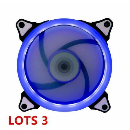 3 X DEEP BLUE LED 120mm CPU Computer Case Cooling Neon Quite Clear 4 Pin Fan (Best Led Case Fans)