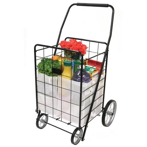 4-Wheel Deluxe Folding Shopping Cart, Black
