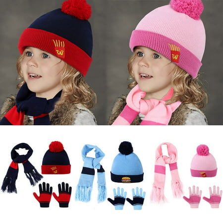 447975052d5 Kids Knitted Hat Scarf-Vbiger 3 Pieces Set Cartoon Kids Winter Knitted Scarf  Gloves Hat Sets Beanie Gloves Girls Boys - Walmart.com