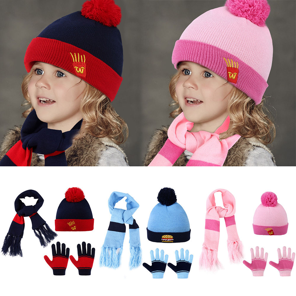 Kids Knitted Hat Scarf-Vbiger 3 Pieces/Set Cartoon Kids Winter Knitted Scarf Gloves Hat Sets Beanie Gloves Girls Boys
