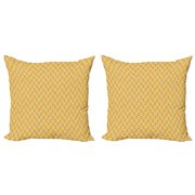 Fruit Throw Pillow Cushion Cover Pack of 2, Citrus Fruits Themed Squares Grid Lemon Lime Grapefruit Orange and Tangerine Pattern, Zippered Double-Side Digital Print, 4 Sizes, Multicolor, by Ambesonne