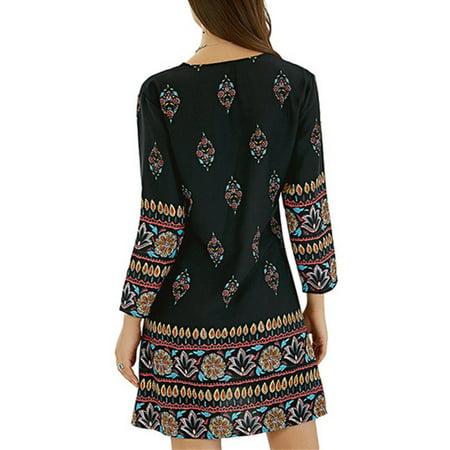 Womens Casual Floral Printed Rayon Mini Dress Loose Long Tops - image 5 de 9