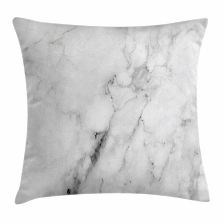 Display Pillow (Marble Throw Pillow Cushion Cover, Marble Surface Pattern with Cracked Lines and Hazy Stripes Artistic Display, Decorative Square Accent Pillow Case, 18 X 18 Inches, Grey Dust White, by Ambesonne )