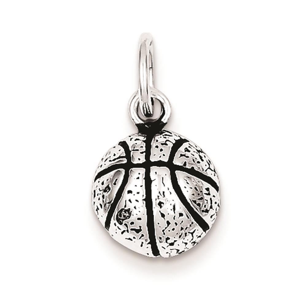 925 Sterling Silver Antiqued Basketball 14mm x 10mm Charm Pendant