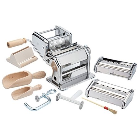 Imperia Pasta Maker Machine- Deluxe 11 Piece Set w Machine, Attachments, Recipes and Accessories Tagliatelle Pasta Machine Attachment