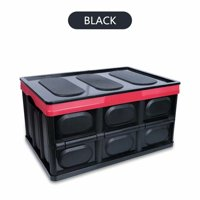 "28"" Collapsible Plastic Storage Box Durable Stackable Folding Utility Crates with Lid Black Color"