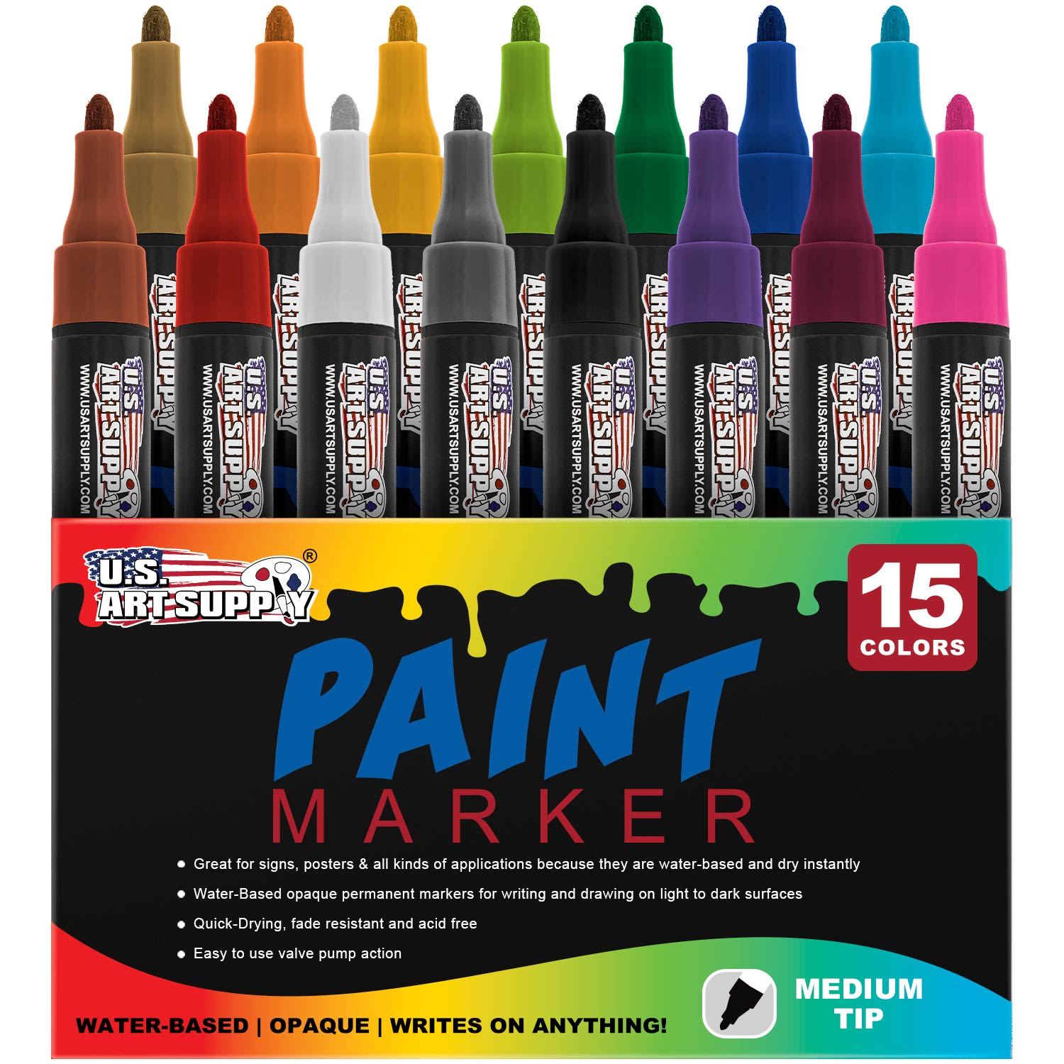 Water Based Premium Paint Pen Markers from U.S. Art Supply - 15 Color Set of Medium Point Tips - Permanent Ink