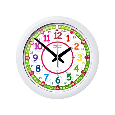 EasyRead Time Teacher Children's Wall Clock, 12 & 24 Hour with silent movement. Learn to tell the time in 2 simple steps, for children age (24 Hour To 12 Hour Time Converter)
