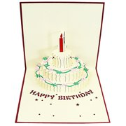 Pop Up Greeting Card - Happy Birthday Cake Candle Gift 3D Paper Greeting Thank You Card Handmade Envelope for kids men women | Halloween Thanksgiving Birthday ( Red Candle )