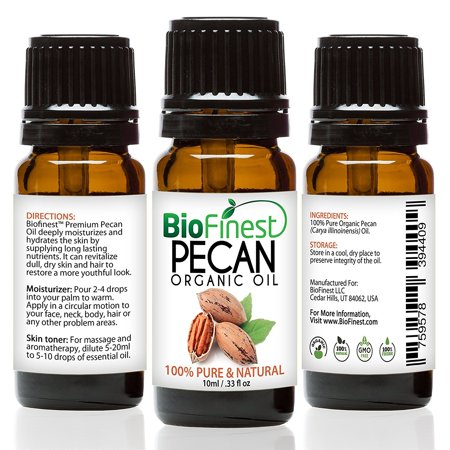 Biofinest Pecan Organic Oil   100  Pure Cold Pressed   Best Moisturizer For Hair Face Skin Acne Sunburn Weight Loss Muscle Pain Wrinkles Scars   Essential Antioxidant  Vitamin E   Free E Book  10Ml