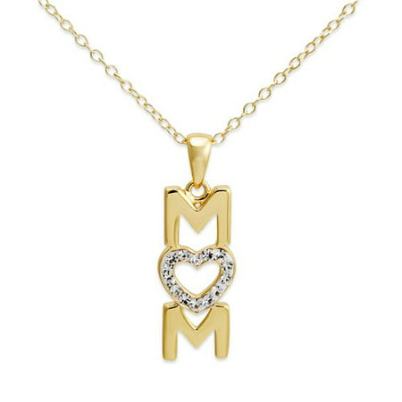 Crystal 18Kt Gold Over Sterling Silver  Mom  Pendant Heart  18
