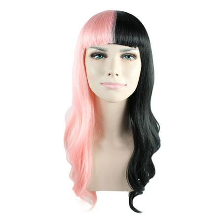 American Singer Long Wig, Pink & Black Adult (Black American Wigs)
