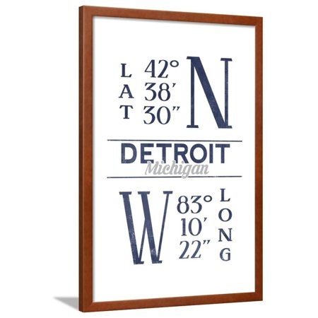 detroit michigan latitude and longitude blue framed print wall art by lantern press walmart com walmart