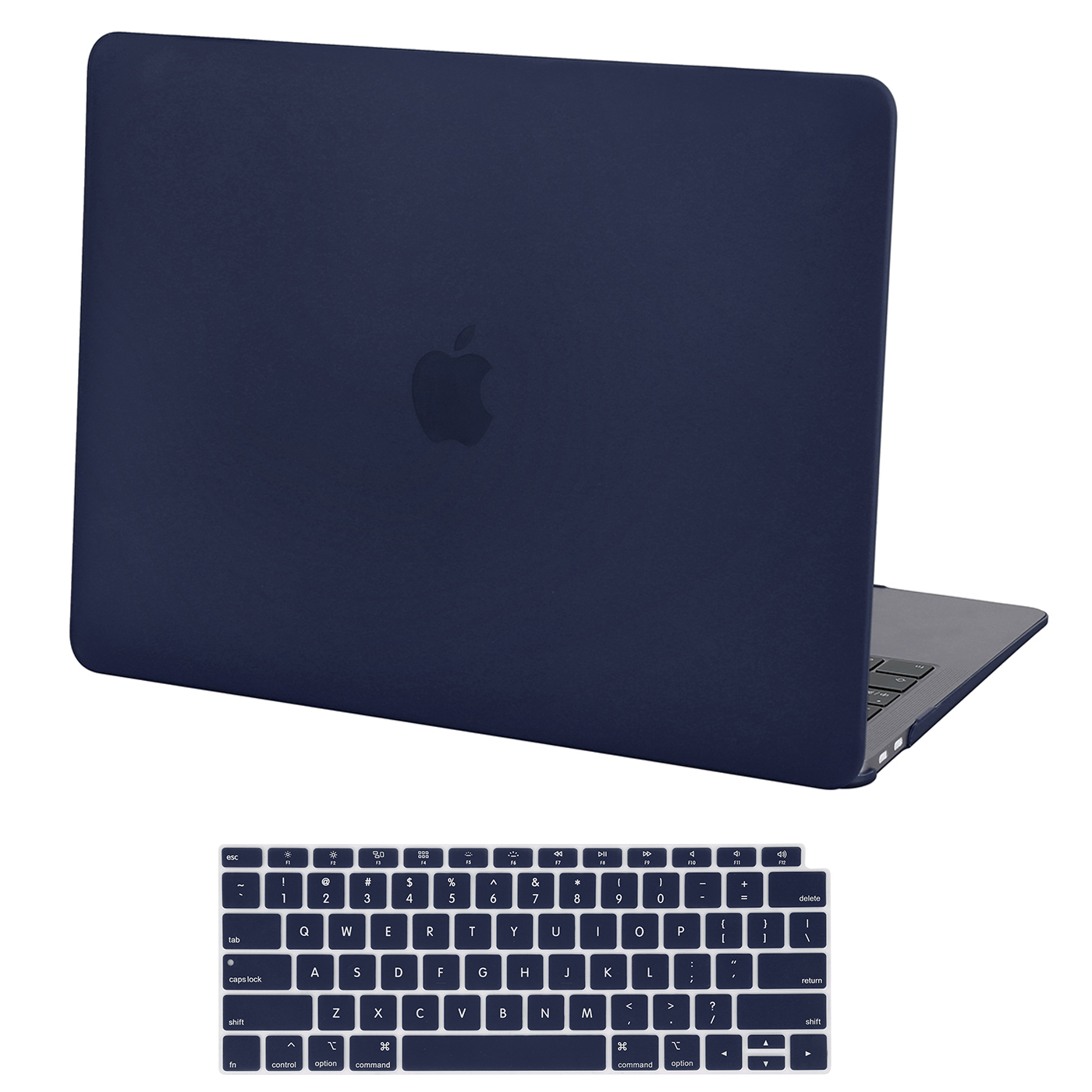 HDE Hard Shell Folio Case and Keyboard Cover for 2018 Apple MacBook Air 13 Inch with Touch ID (Retina Model: A1932) - Navy Blue