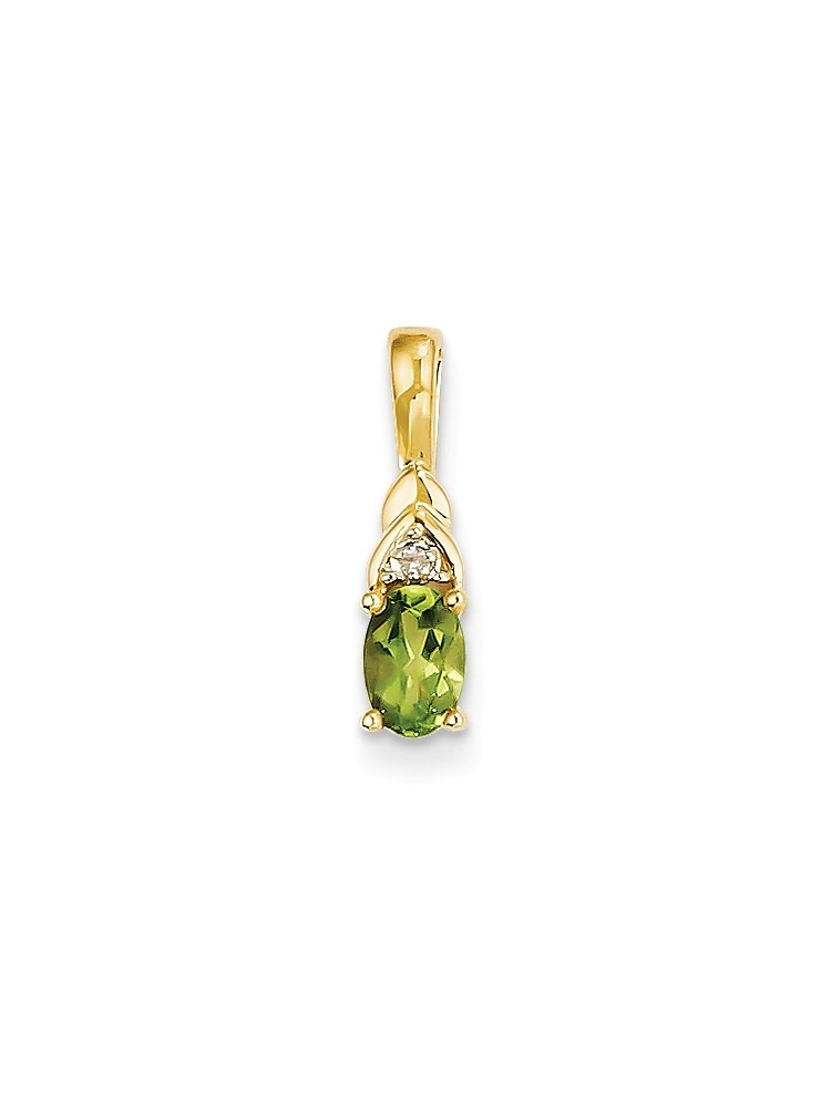 14kt Yellow Gold Diamond Green Peridot Pendant Charm Necklace Gemstone Birthstone August Set Style Fine Jewelry For... by IceCarats Designer Jewelry Gift USA