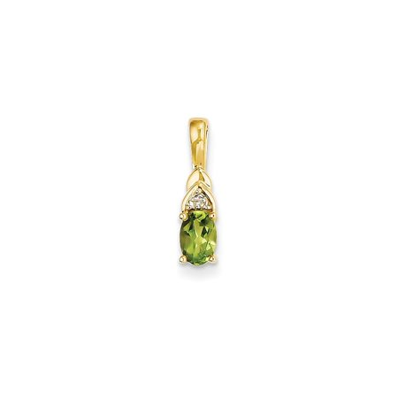 14k Yellow Gold Diamond Green Peridot Pendant Charm Necklace Gemstone Birthstone August Gifts For Women For Her
