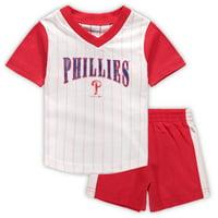 Philadelphia Phillies Infant Little Hitter V-Neck T-Shirt & Shorts Set - White/Red