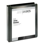 "Just Basics D-Ring View Binder, Basic, 1 1/2"" Rings, 38% Recycled, Black"