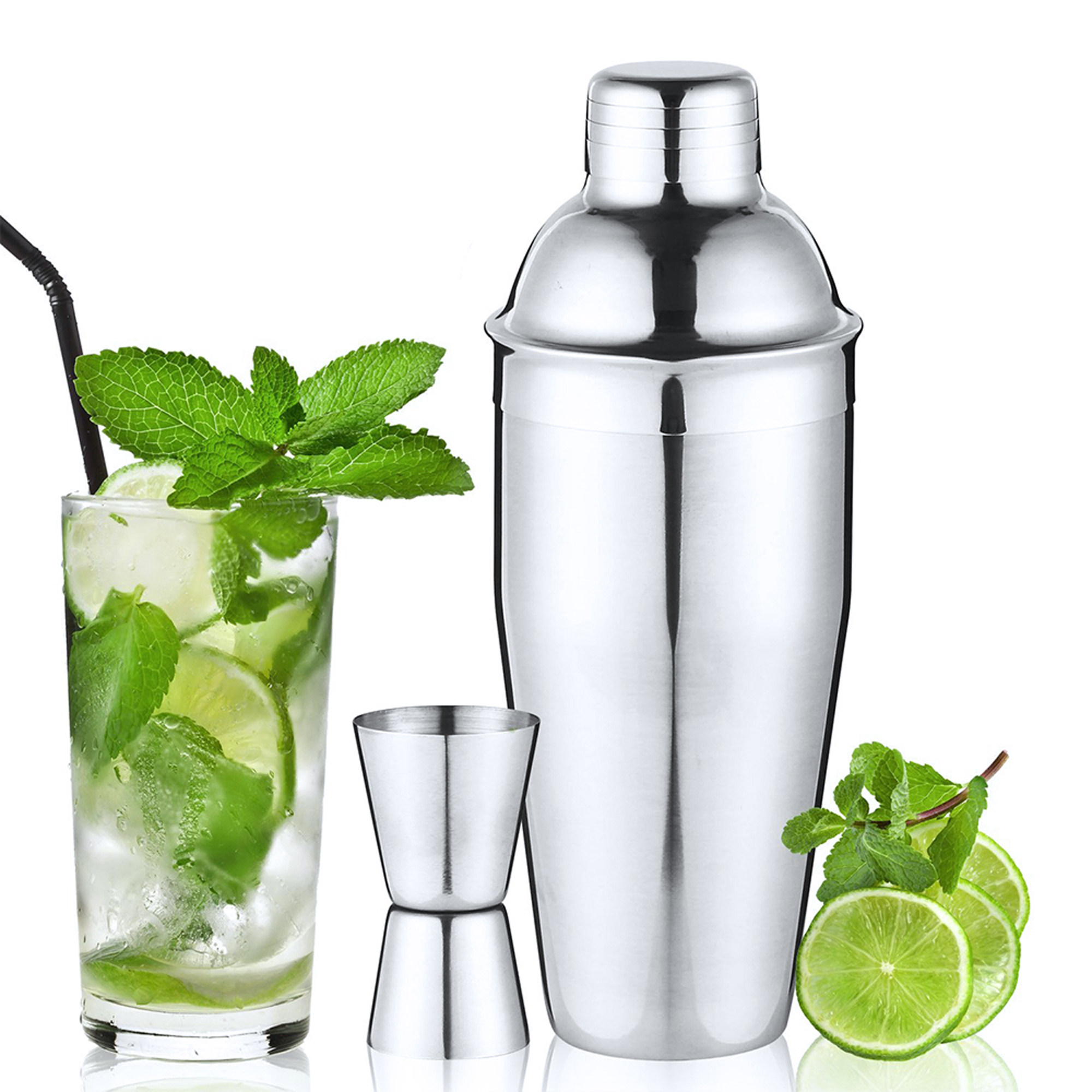 25Oz/750ML Cocktail Shaker Set 18/8 Premium Stainless Steel 3PCS Bundle w/ Jigger and Built-In Strainer Mixer