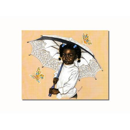 African American Art (African American Black Girl Umbrella Butterflies Wall Picture 8x10 Art Print )