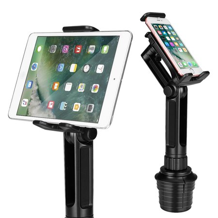 Cup Mount Holder for iPad and Smartphone, Universal Car Cup Tablet Mount w/ Swivel Arm Extendable Clamp for Devices with 4-10.5 inch Display, Ideal for Apple iPhone Samsung Uber Lyft