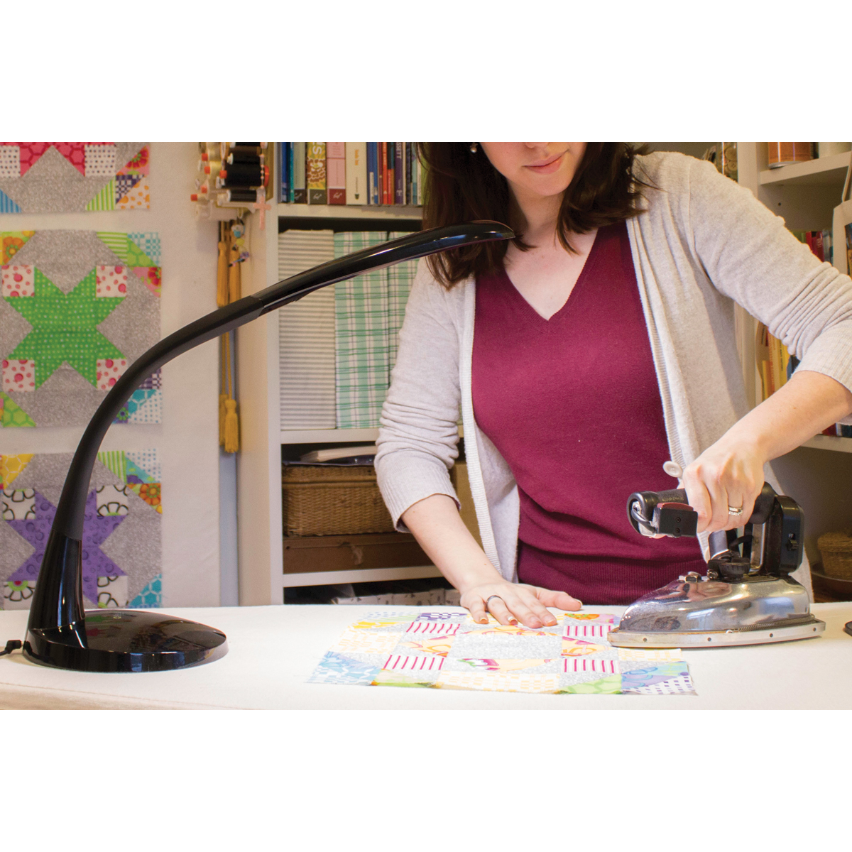 Stella Lighting Stella Task Lamp, Black, LED Light with Flexible Arm Multi-Colored
