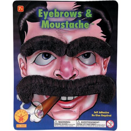 Large Moustache And Eyebrows Adult Costume Set - Black (Costume Eyebrows)