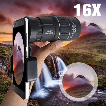 16x52 Hiking HD Camera Lens Telescope Monocular with Phone Holder for iPhone X, 8 7 6S 6 / Plus 5S, for Samsung Galaxy Note 8 S9/S8/S8