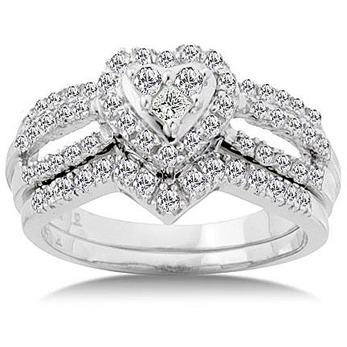 34 Ctw Heart Shaped Diamond Bridal Set Walmartcom