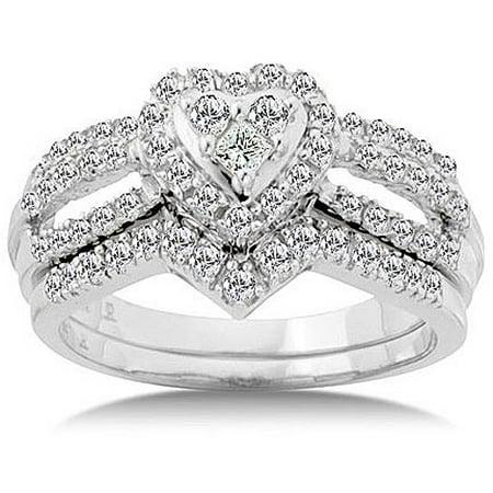 3 4 Carat Diamond Heart Bridal Set Size 7