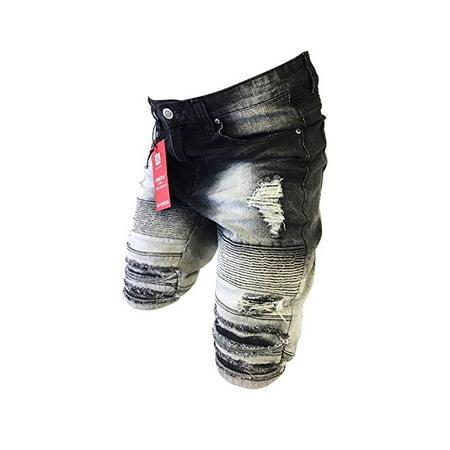(Men's Victorious Jean Shorts Slim Fit Biker Zipper Distressed Acid Wash Denim Vintage Black DS2017)