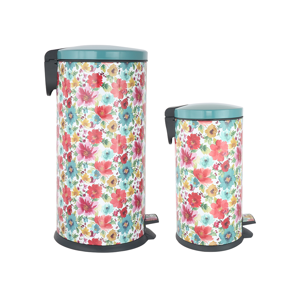 Pioneer Woman Stainless Steel 10.5 Gal and 3.1 Gal Oval Step On Trashcan Set pin