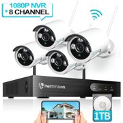 HeimVision HM241A 1080P Wireless Security Camera System, 8CH NVR 4Pcs Outdoor WiFi Surveillance Camera with Night Vision, Waterproof, Motion Alert, Remote Access, 1TB Hard Drive Included