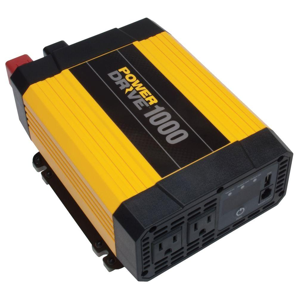 Powerdrive Rppd1000 Powerdrive1000 Dc To Ac Power Inverter With Usb Powered Hub Circuit Diagram Port 2 Outlets 1000 Watts