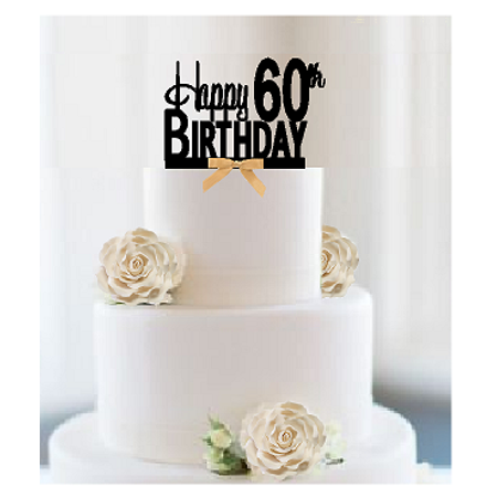 Item#060CTGR - Happy 60th Birthday Elegant Cake Decoration Topper with Gold Bow - Cake Decorations For 60th Birthday