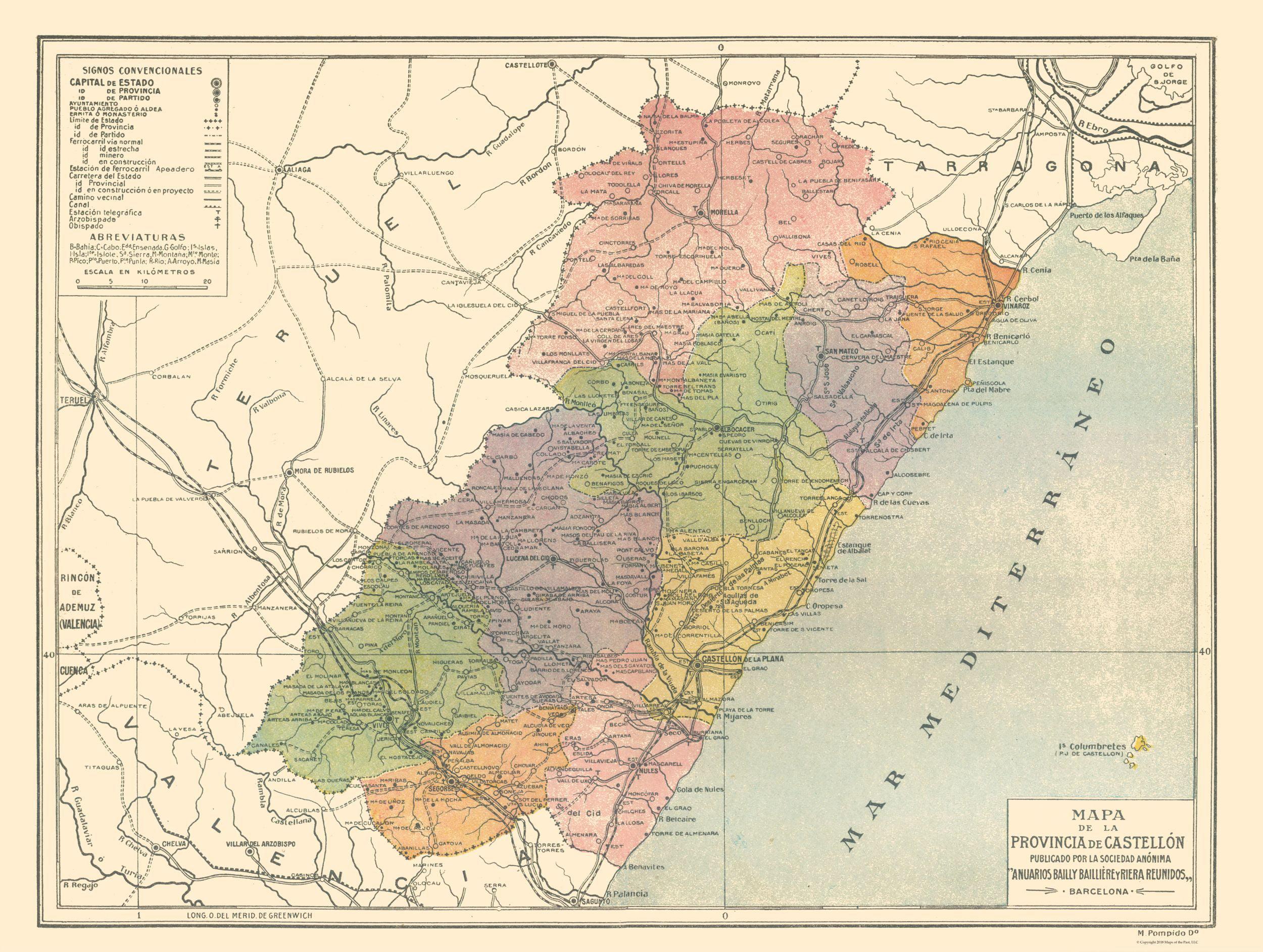 Map Of Spain By Province.International Map Castellon Province Spain Pompido S Atlas 1913