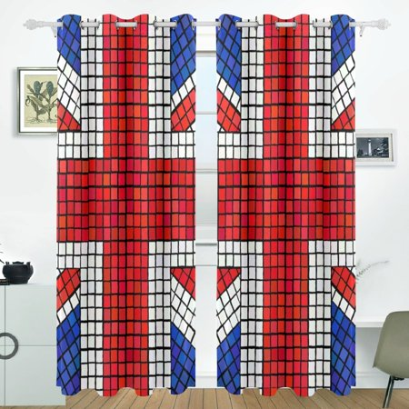 POPCreation UK Flag Union Jack Mosaic Window Curtain Blackout Curtains Darkening Thermal Blind Curtain for Bedroom Living Room,2 Panel (52Wx84L (Best Blackout Blinds Uk)
