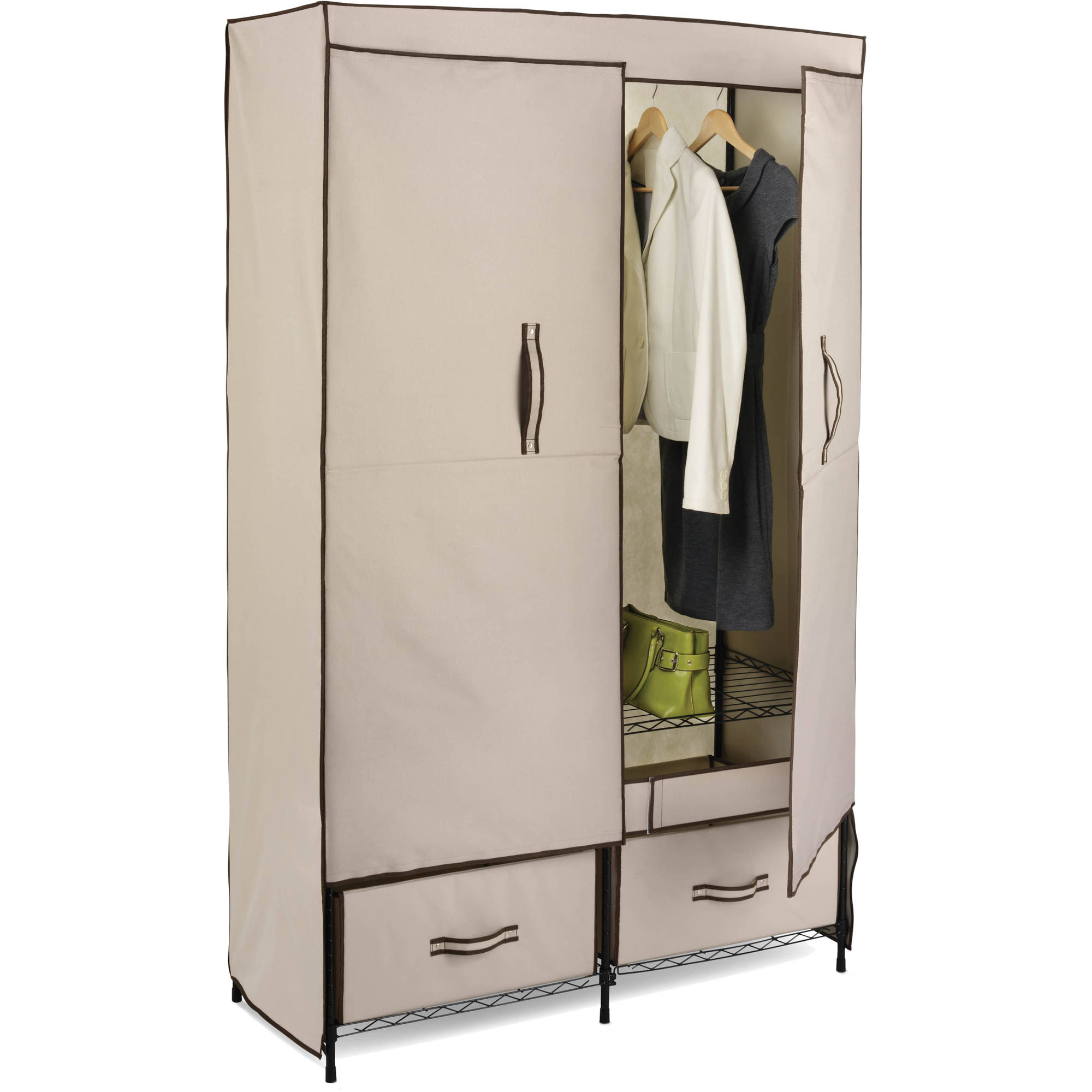 Honey Can Do Double Door Closet Storage With Two Drawers, Beige/Brown