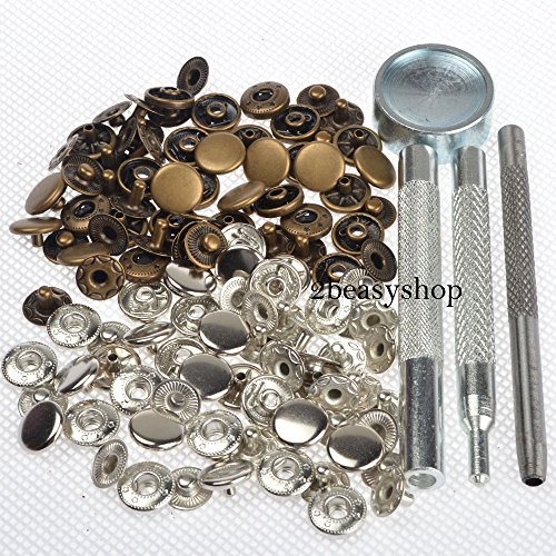 30 Completed Sets 10mm Silver & Antique Brass Snap Fasteners Poppers Sewing Clothing Jacket Jean Bag Shoes Buttons Studs Kit with Fixing Tool