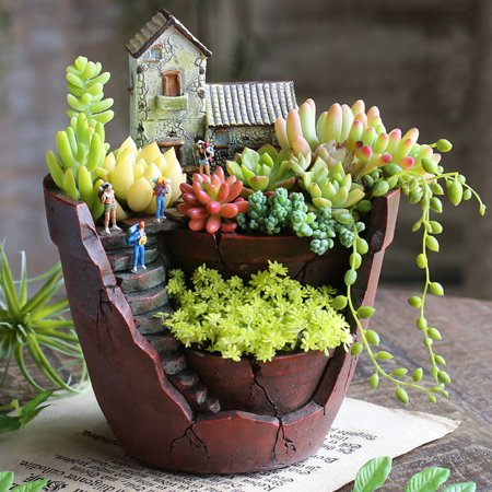 Large Size Sky Garden Succulent Herb Planter Flower Basket Pot Trough Box Plant Home Decor Christmas Gift Present ()