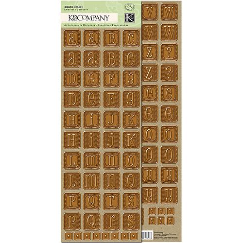 K&Company Eco Modern Alphabet Embossed Stickers