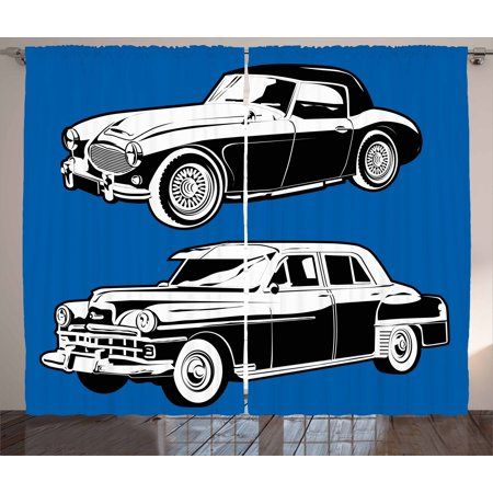 Cars Curtains 2 Panels Set  Black And White Vintage Cars On Navy Blue Backdrop Classic Old Vehicles  Window Drapes For Living Room Bedroom  108W X 63L Inches  Navy Blue Black White  By Ambesonne
