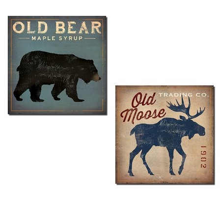 Blue Fabric Poster (Rustic Blue and Tan Old Bear and Moose Set by Ryan Fowler; Cabin Lodge Decor; Two 12x12in Paper Poster)