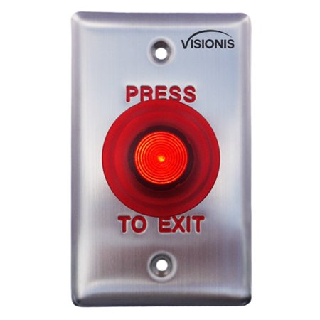 Visionis VIS-7015 Red Round Press to Exit Button for Door Access Control UL Listed with LED Light, NO and NC Outputs