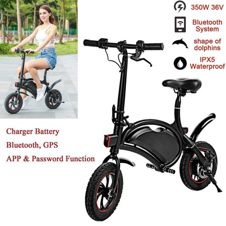 12''APP Control Folding Electric Bike Bluetooth System 350W 36V 6AH Lithium Battery Smart Electric Mountain Bicycle With Automatic Headlight